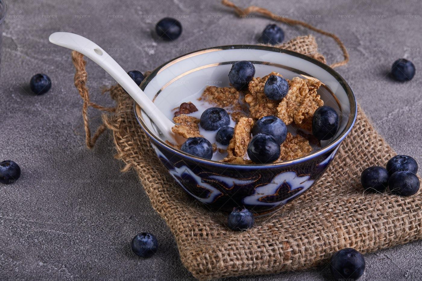 Cornflakes With Blueberries: Stock Photos