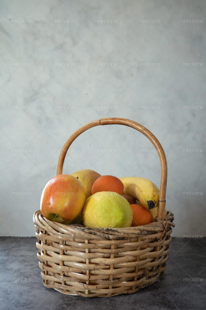 Bucket Of Garden Fruits: Stock Photos