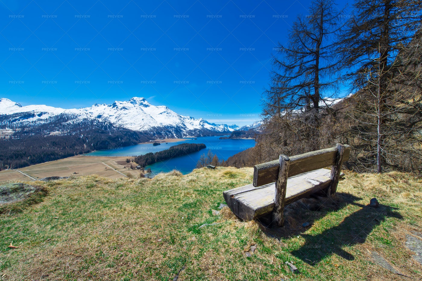 Wooden Bench In The Landscape: Stock Photos
