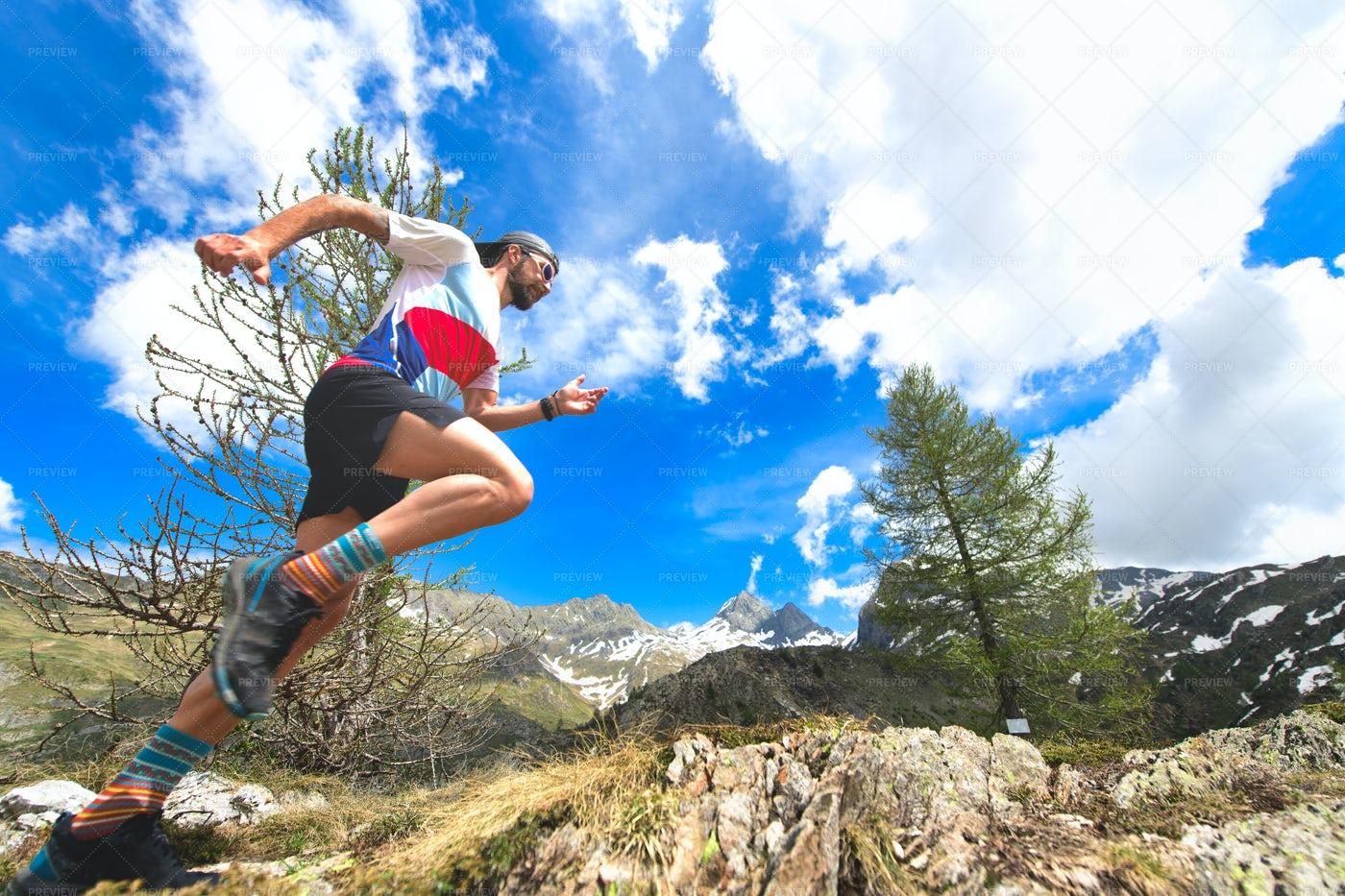 Running The Mountain Trail: Stock Photos