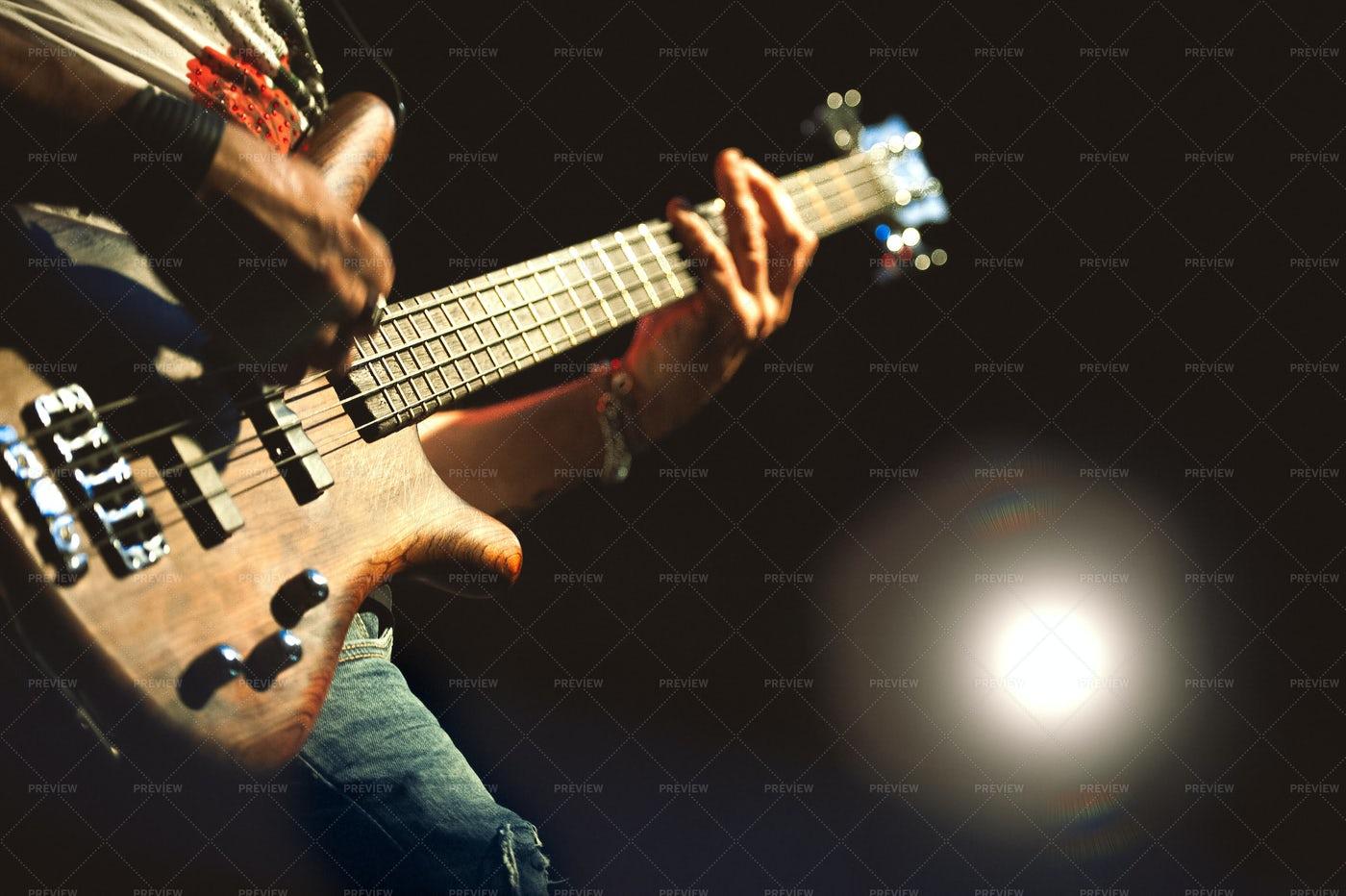 Bass Guitar Performance: Stock Photos