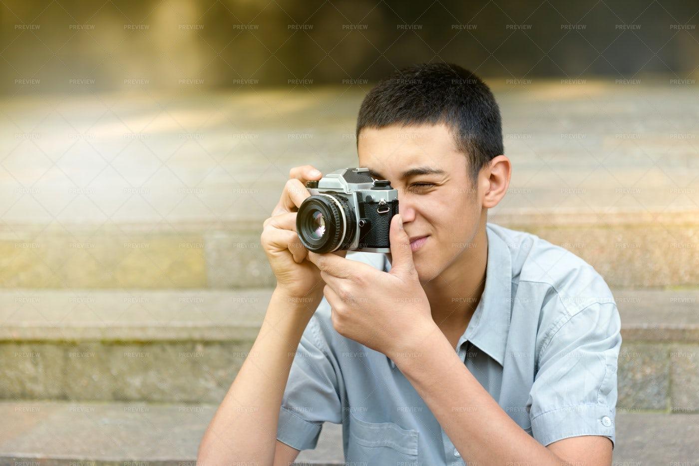 Man Taking Photographs: Stock Photos