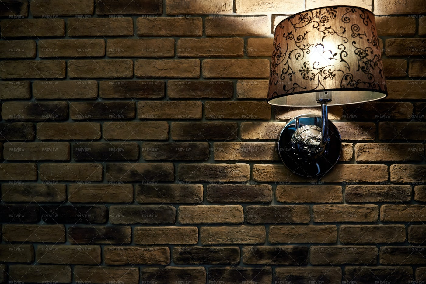 Lamp On Brick Wall: Stock Photos