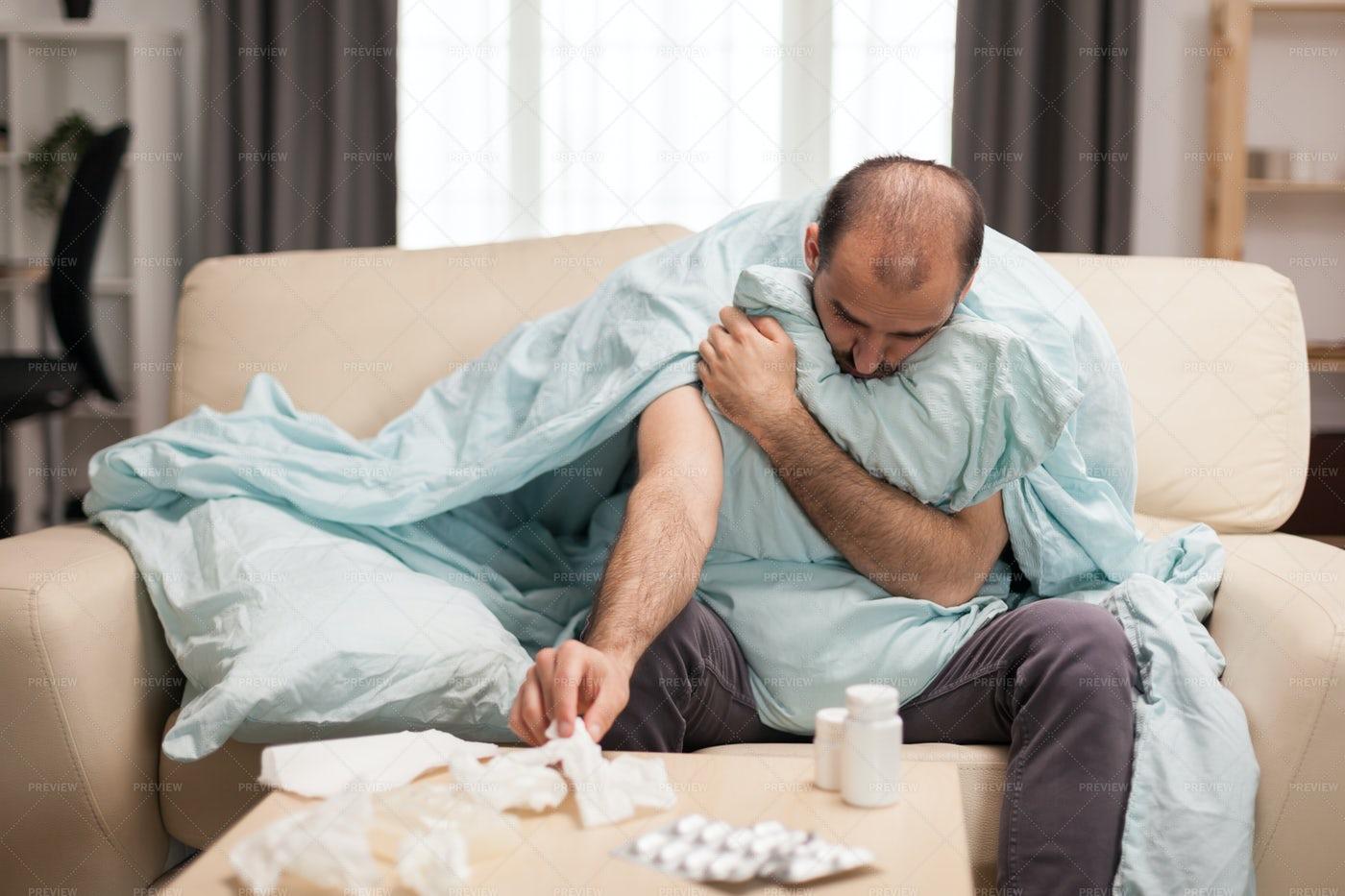 Sick Man At Home: Stock Photos