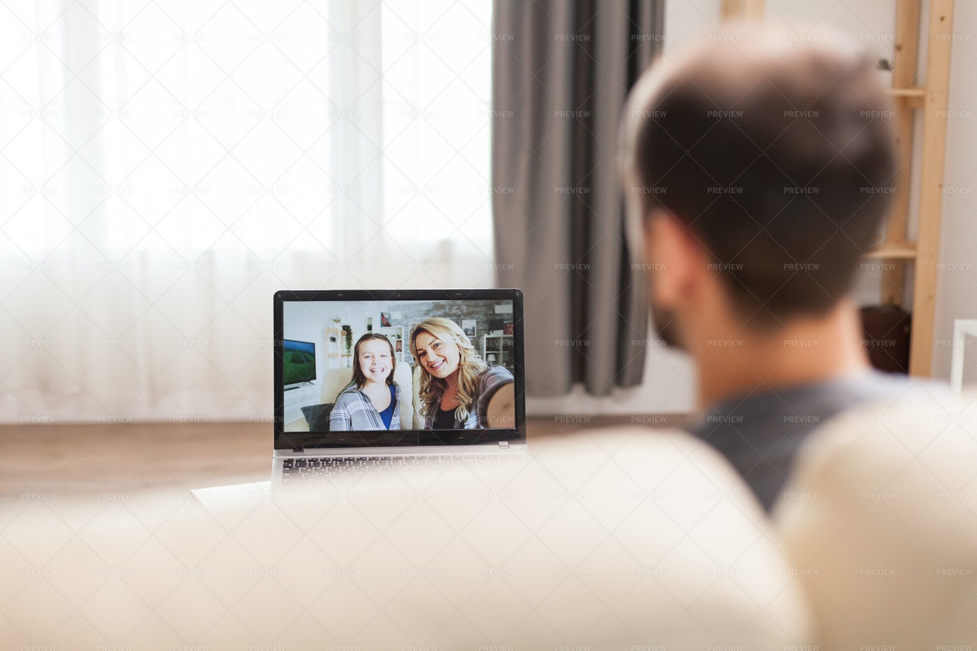 Video Call With His Family: Stock Photos