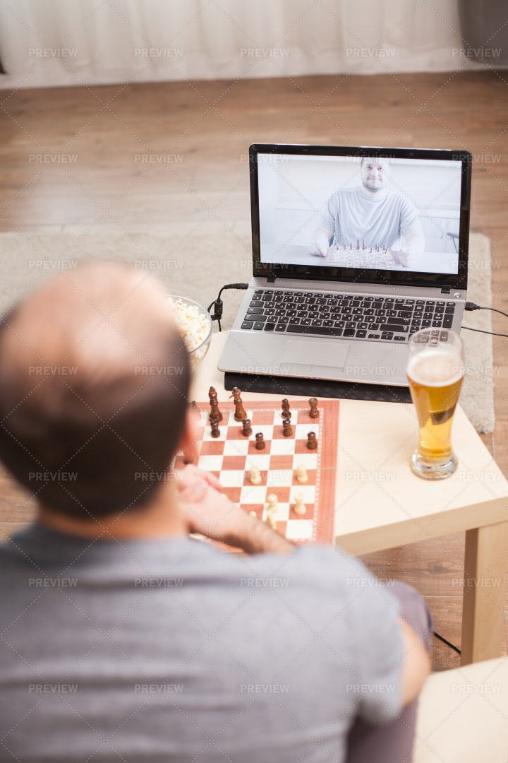 Playing Chess On Video: Stock Photos