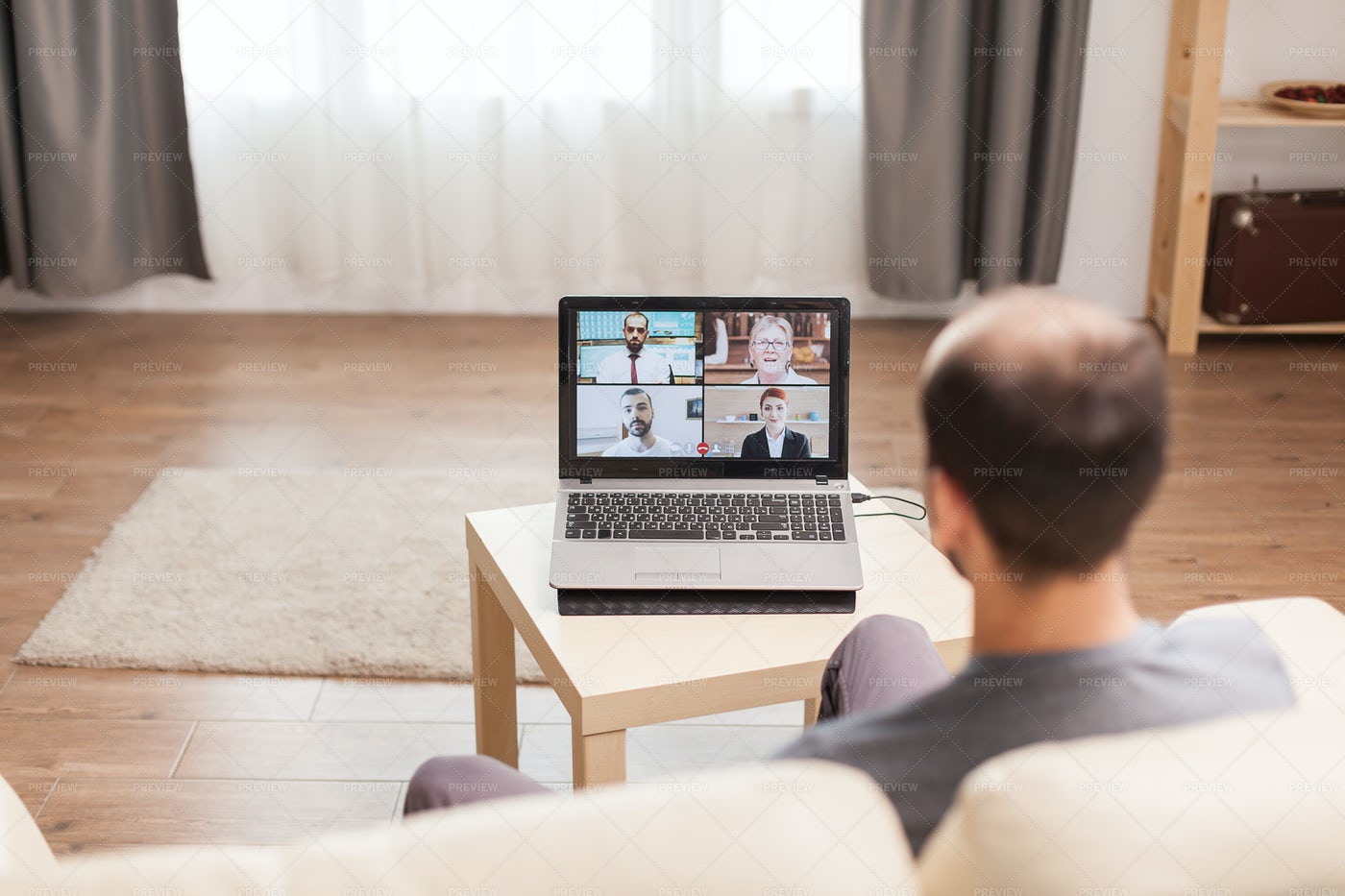 Joining A Virtual Conference: Stock Photos