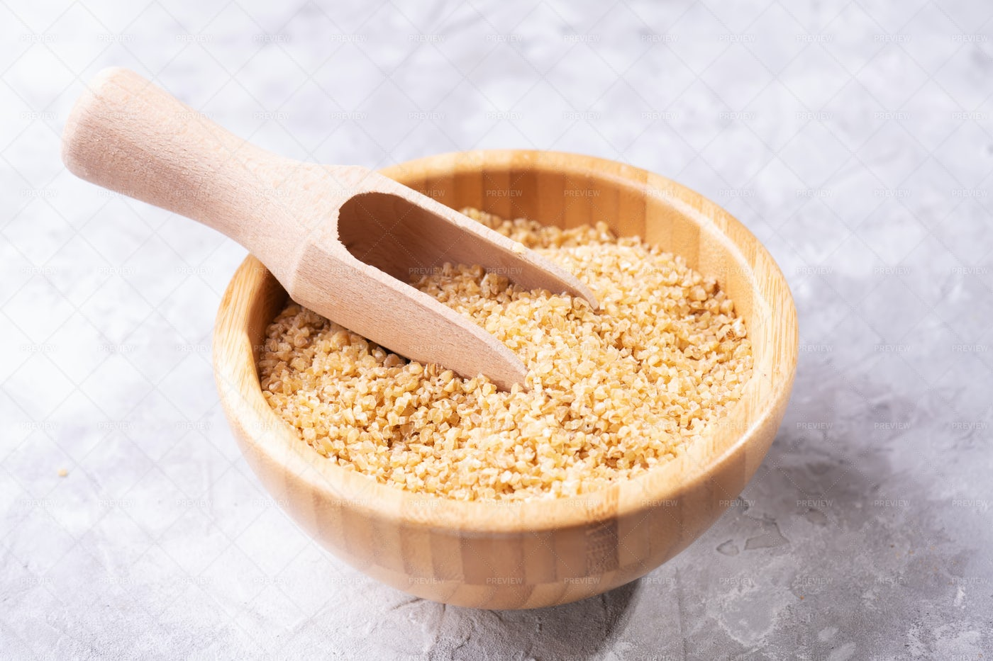 Scooped Bulgur Wheat Grains: Stock Photos