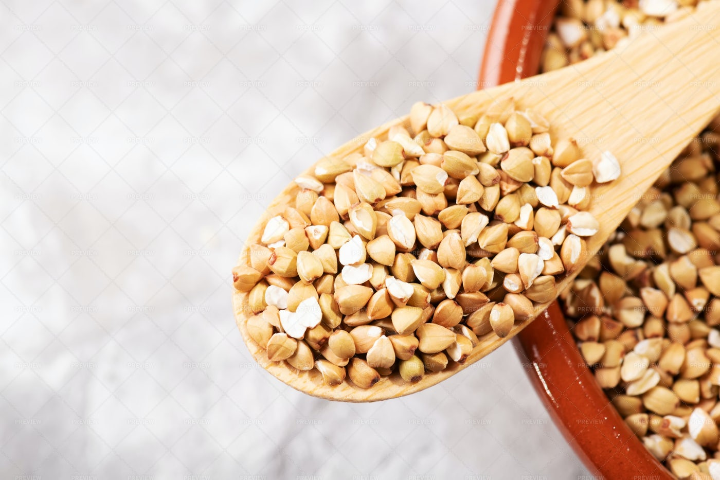 Raw Green Buckwheat: Stock Photos