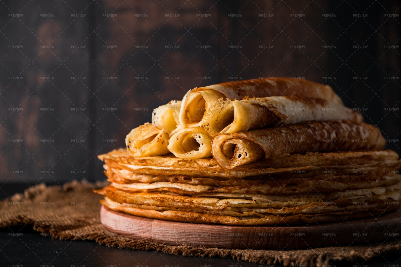 Stack Of Thin Pancakes: Stock Photos