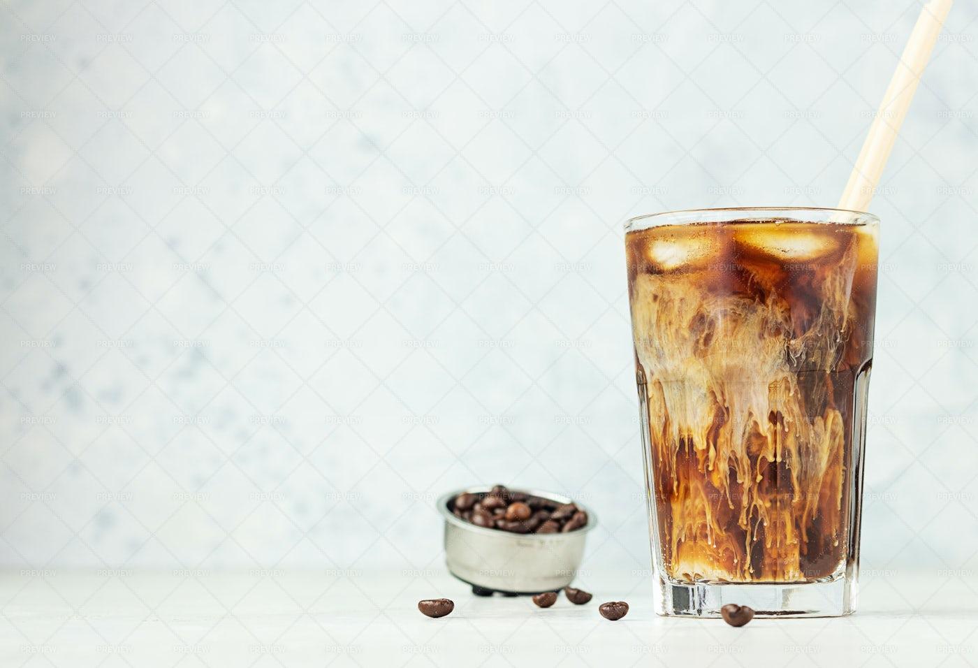 Iced Coffee With Cream: Stock Photos