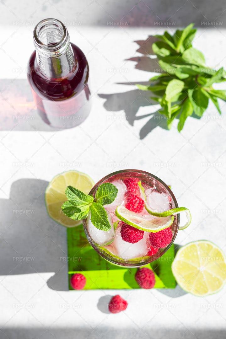 Pink Lemonade With Raspberries: Stock Photos