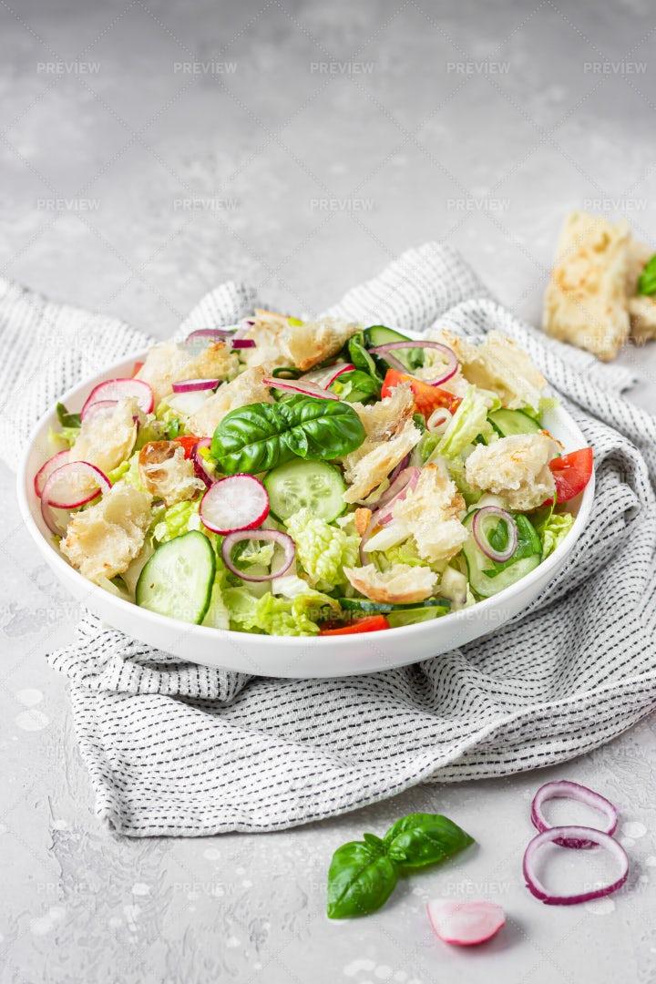 Vegetarian Salad With Pita: Stock Photos