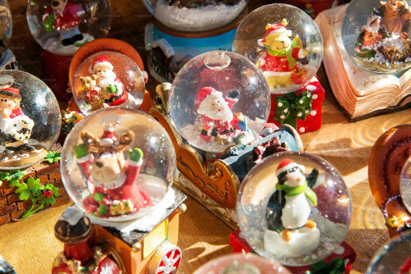 Colorful Christmas Snow Globes: Stock Photos