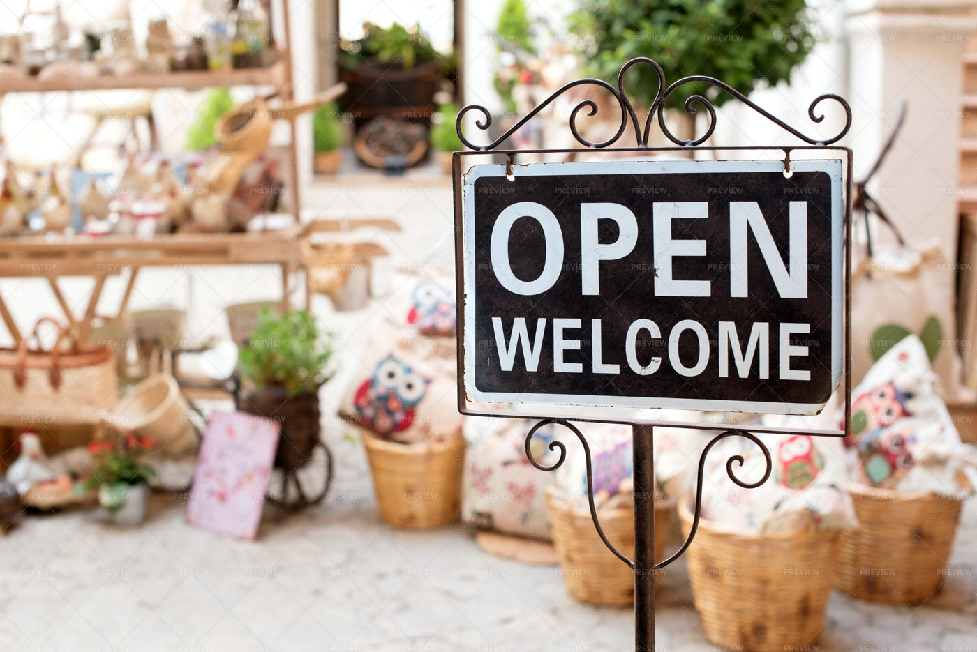 Welcome Sign At A Market: Stock Photos