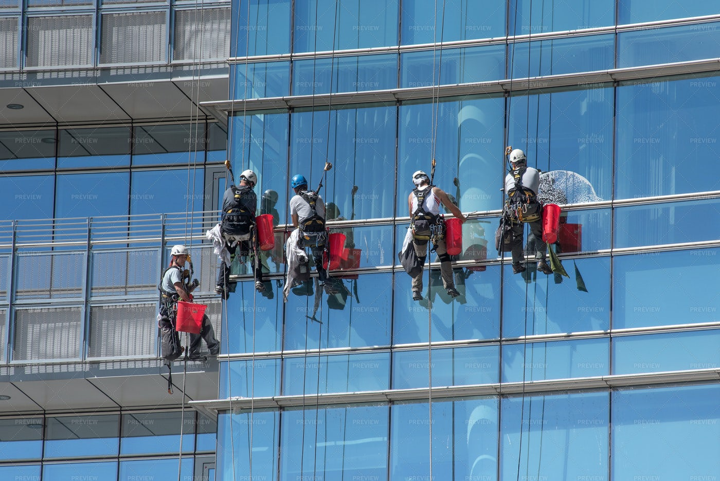 Window Cleaners On Cables: Stock Photos
