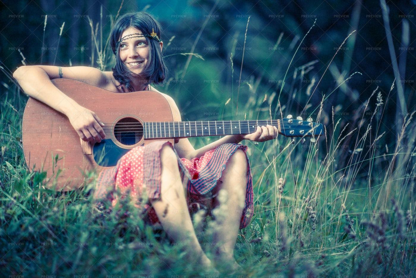 Hippie Young Woman: Stock Photos