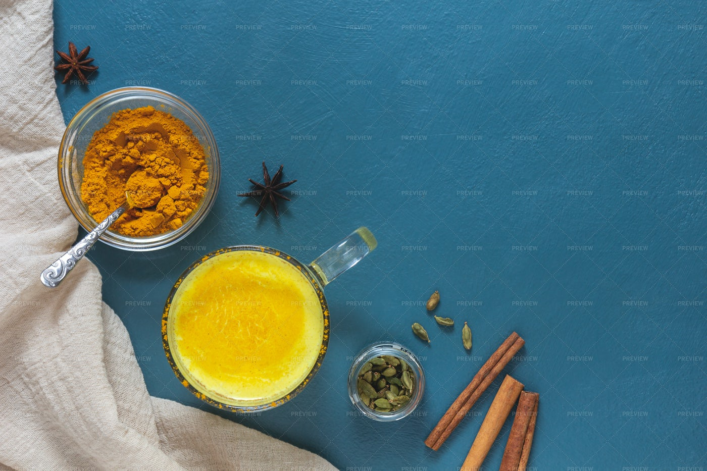 Golden Milk With Spices: Stock Photos