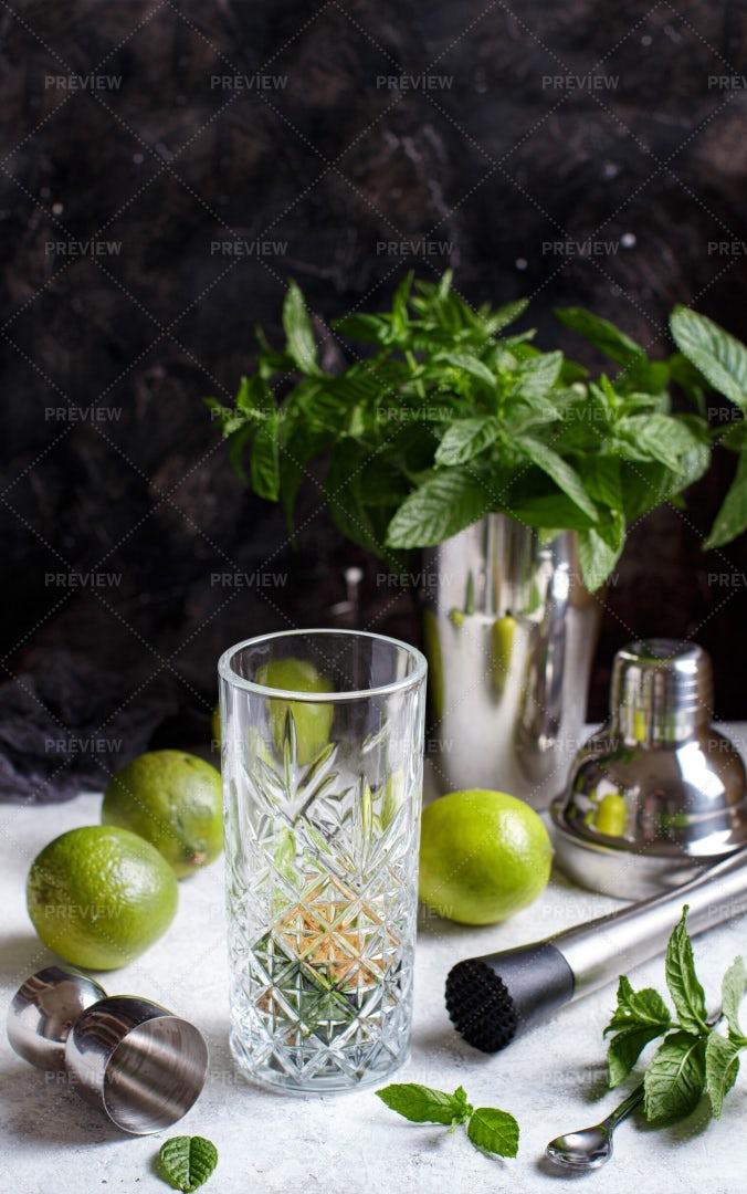 Mojito Cocktail Ingredients: Stock Photos