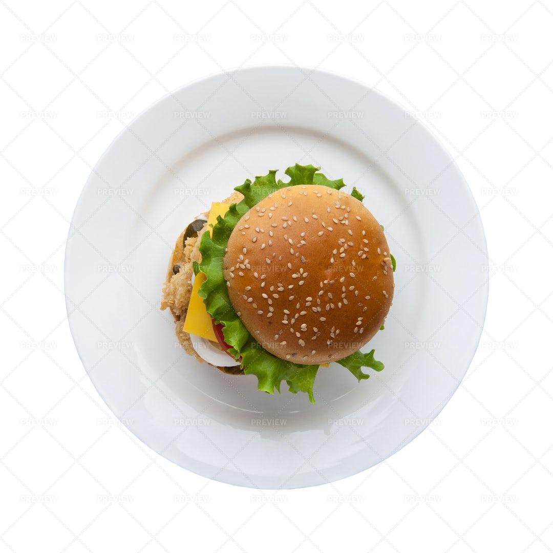 Hamburger On White Plate: Stock Photos
