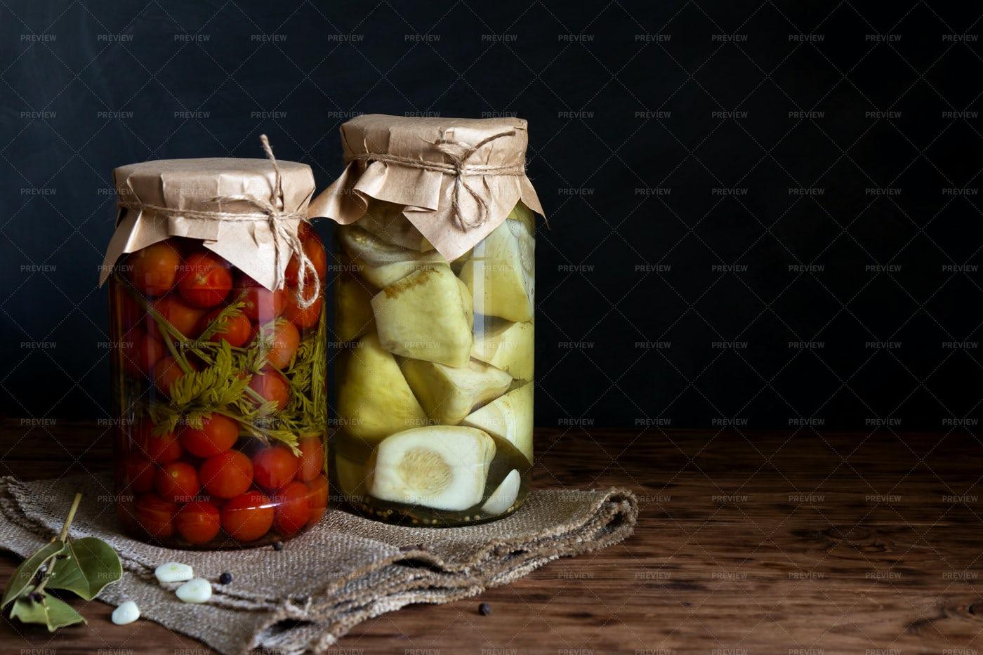 Sealed Vegetable Jars: Stock Photos