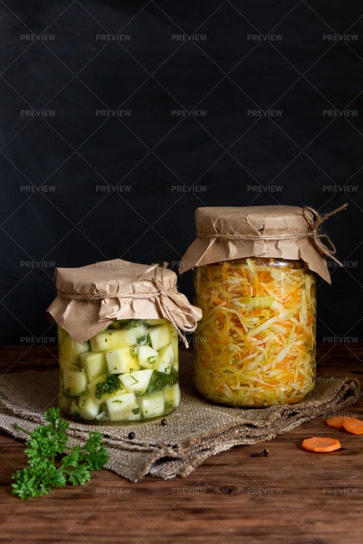 Fermented Zucchini And Sauerkraut: Stock Photos