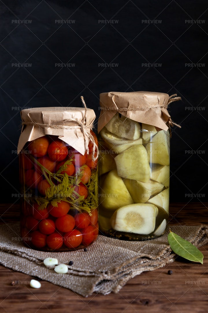 Fermented Tomatoes And Squash: Stock Photos
