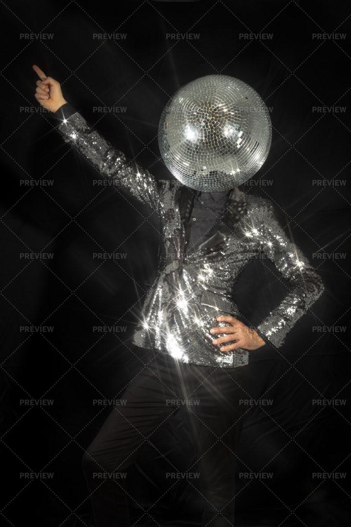 Dancer With Discoball As Head: Stock Photos