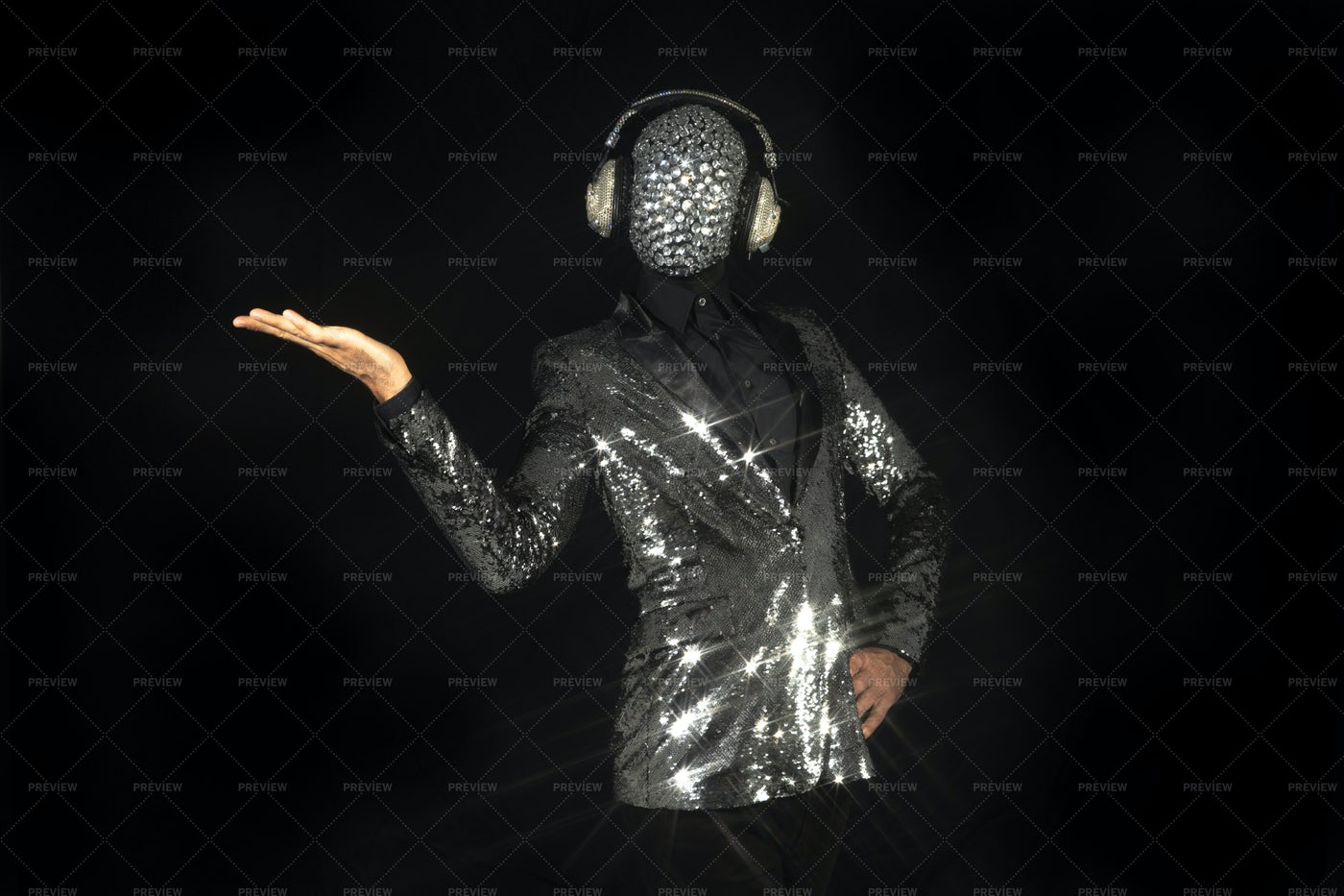 Posing In Sparkling Suit: Stock Photos