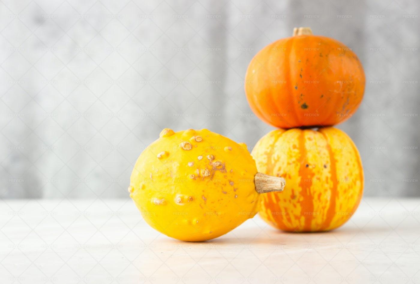 Old Small Pumpkins: Stock Photos