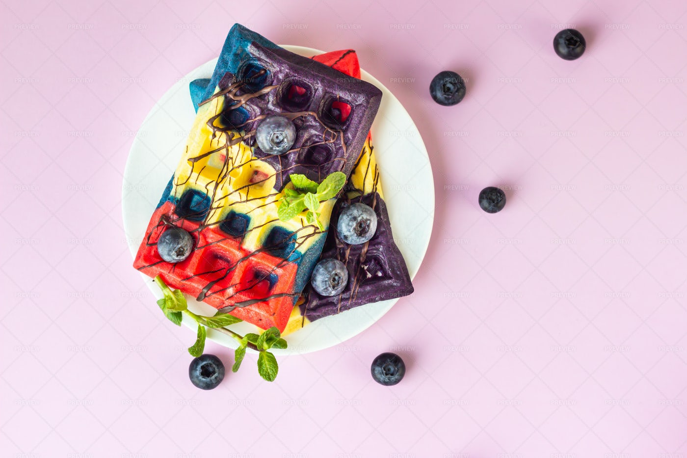 A Colorful Waffle Breakfast: Stock Photos