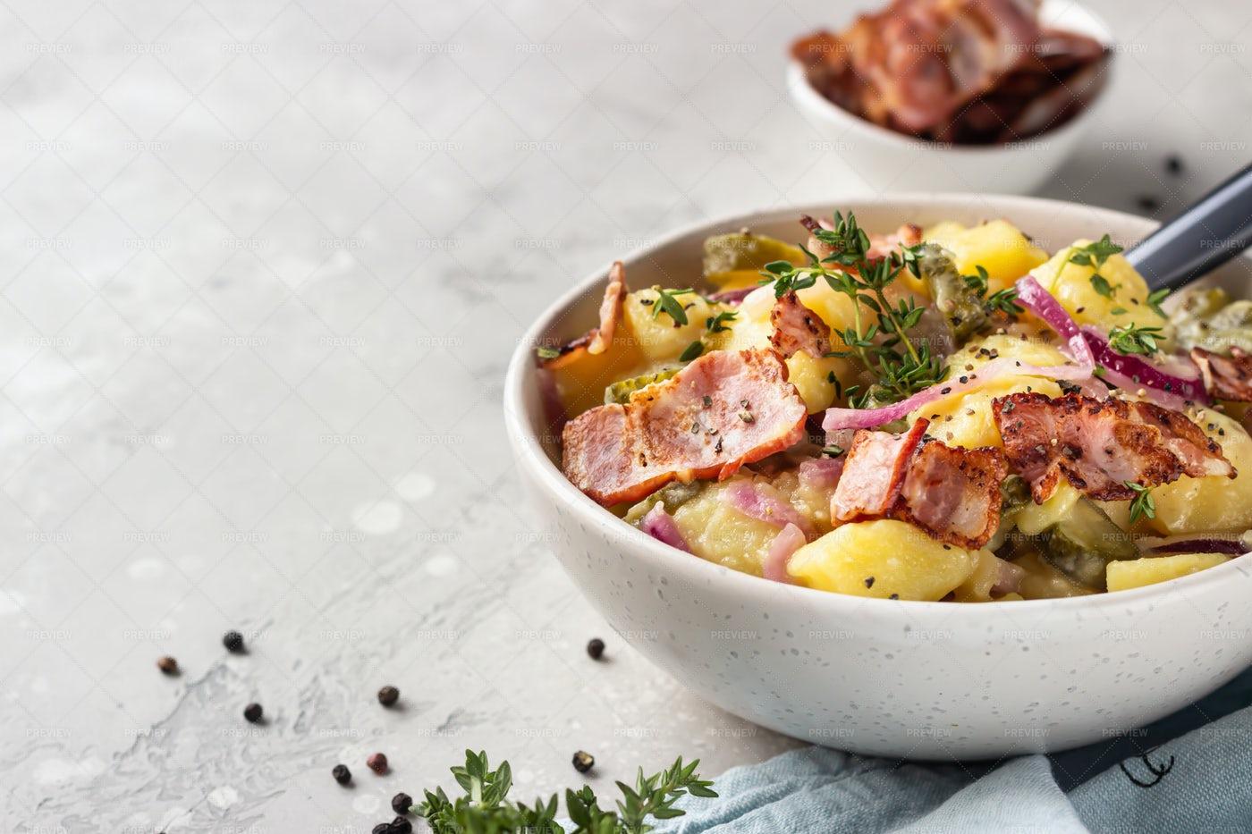 Salad With Potato And Bacon: Stock Photos