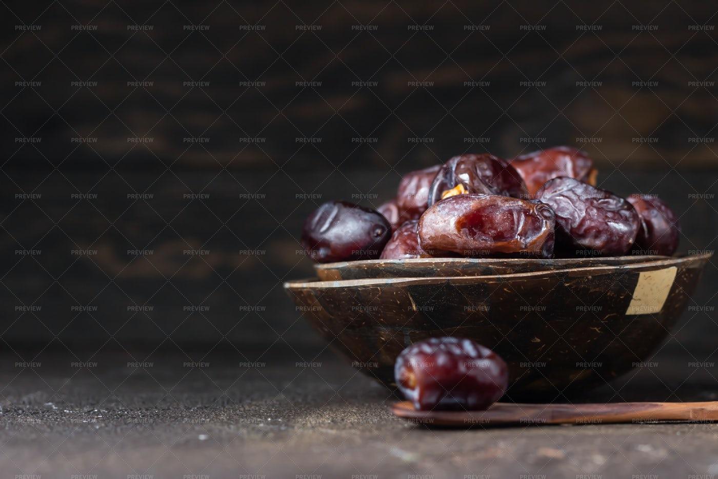 Bowl Of Juicy Dates: Stock Photos