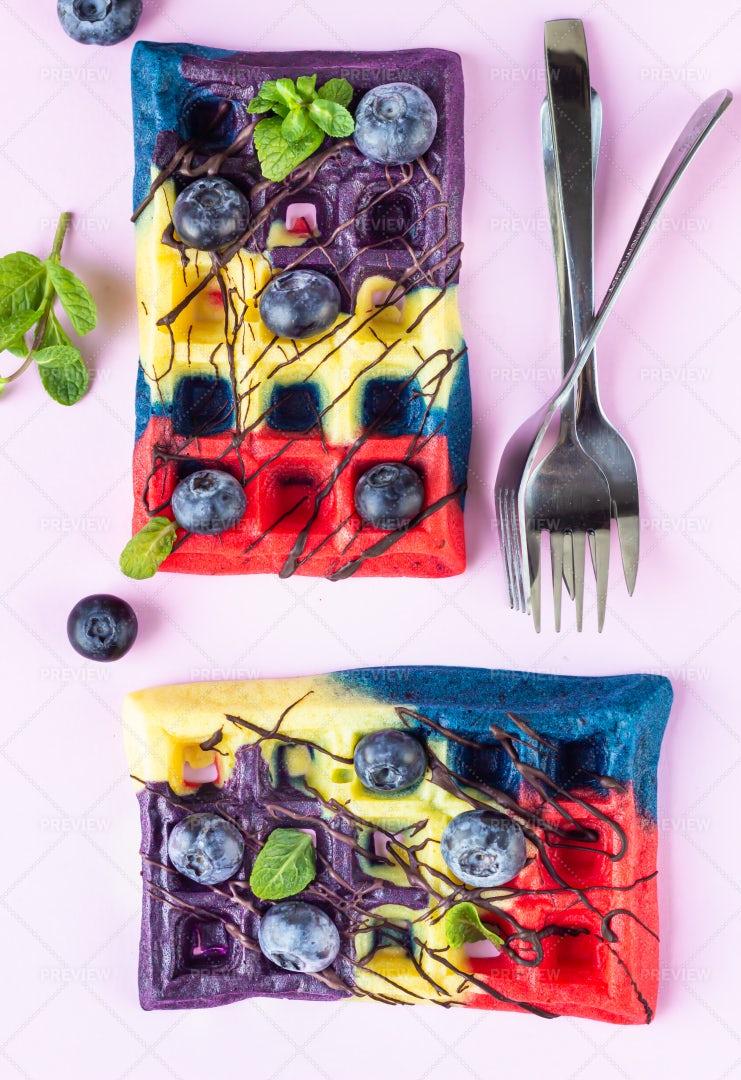Colorful Belgian Waffles: Stock Photos