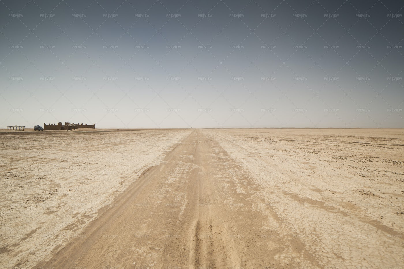 Dry Lake And Road: Stock Photos