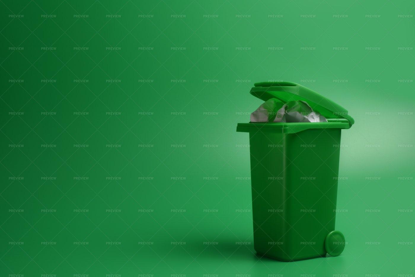 Green Trash Bin: Stock Photos
