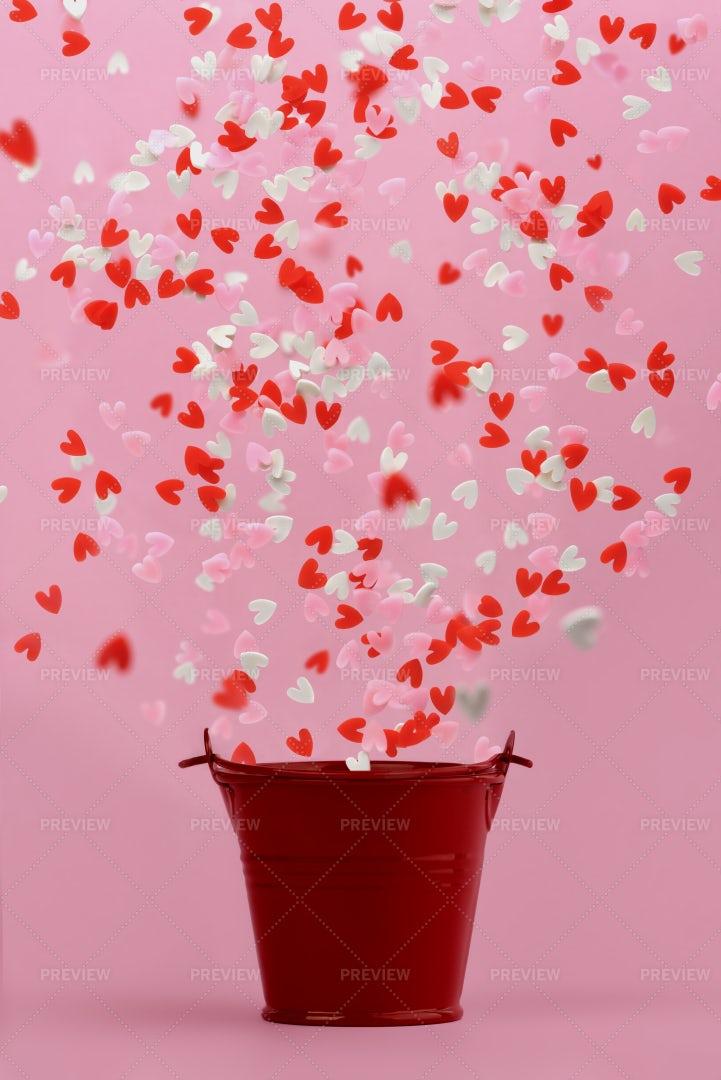 Hearts Fly From  Bucket: Stock Photos