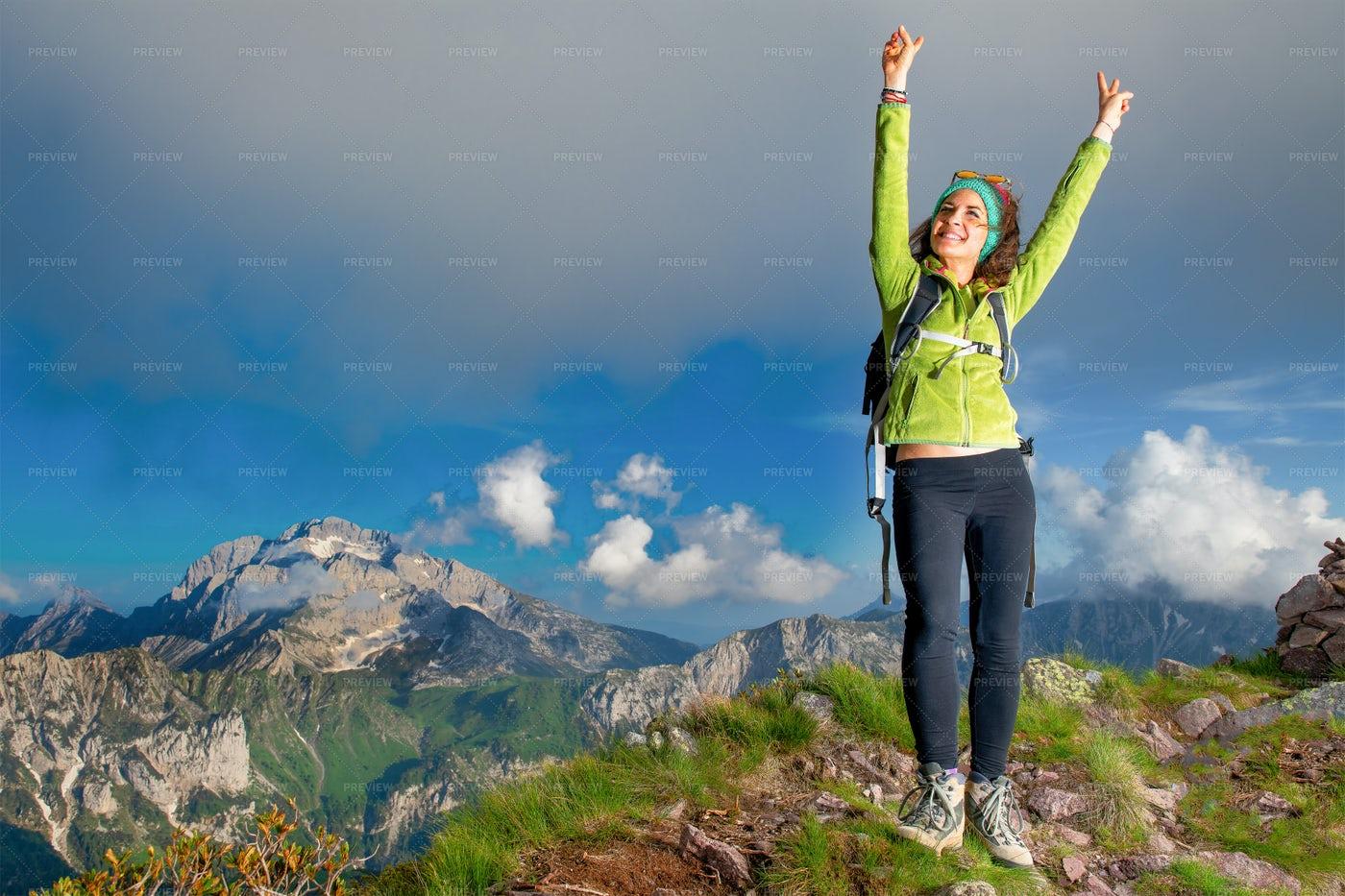 Woman In Top Of Mountain: Stock Photos