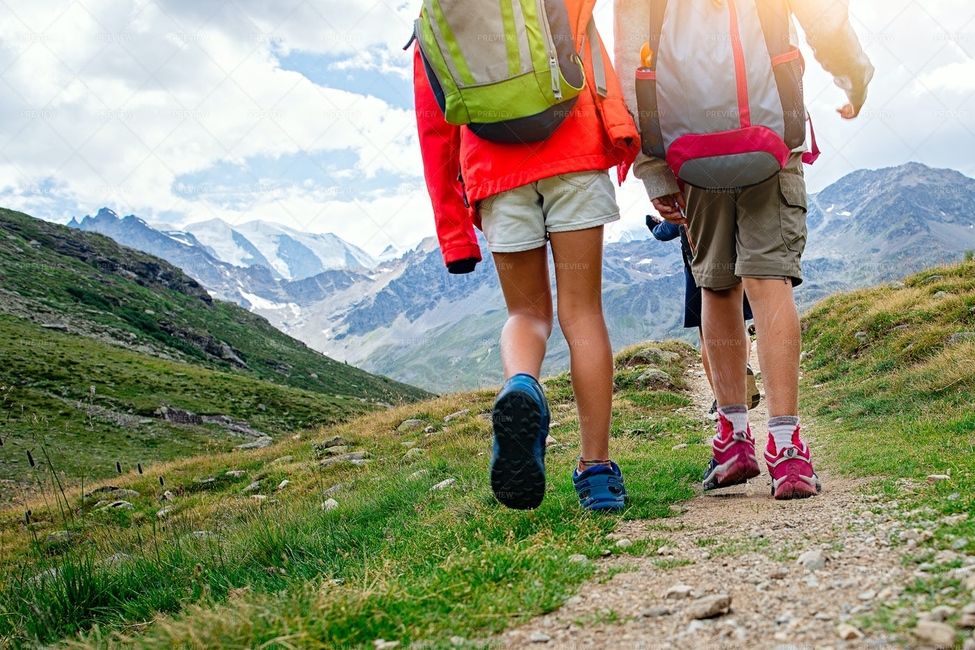 Kids Hiking A Mountain: Stock Photos