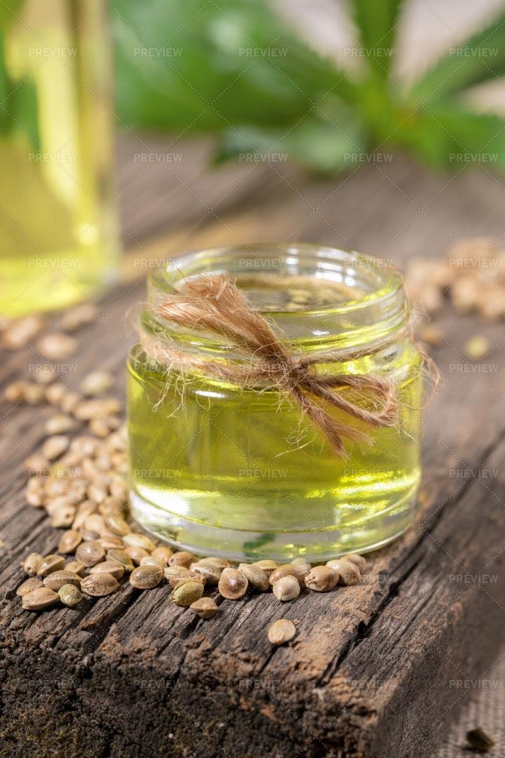 Hemp Oil In Glass Jar: Stock Photos
