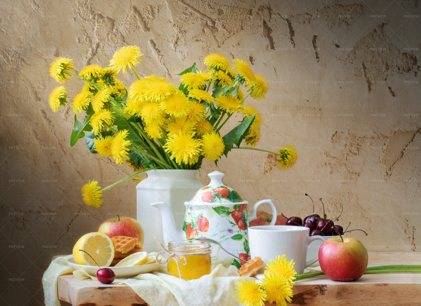 Dandelions, Tea And Fruit: Stock Photos