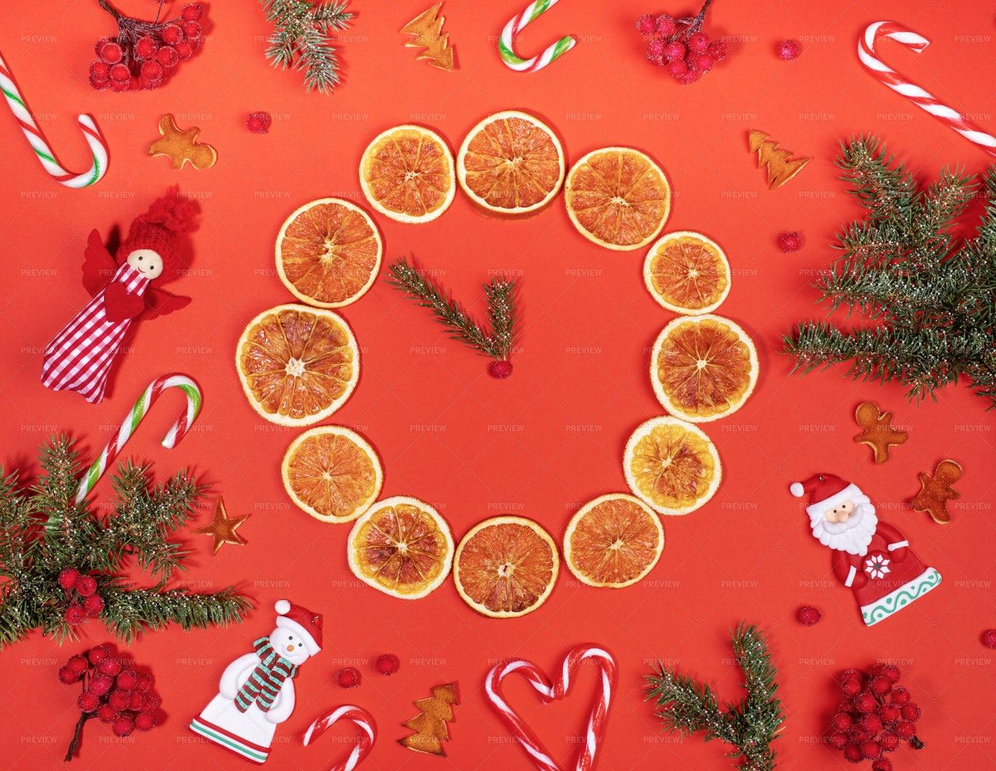 A Natural Christmas Clock: Stock Photos