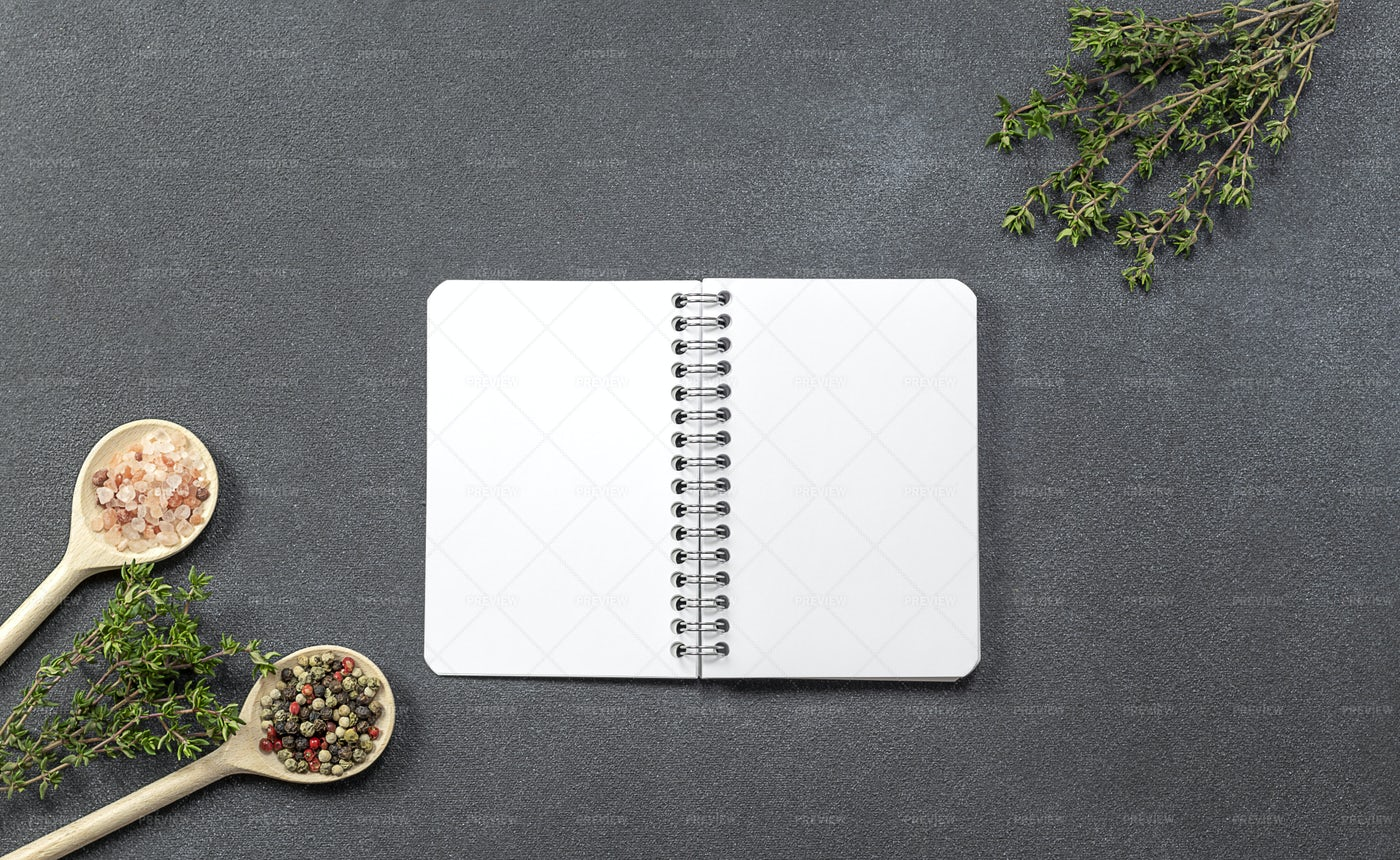Notebook With Herbal And Spices: Stock Photos