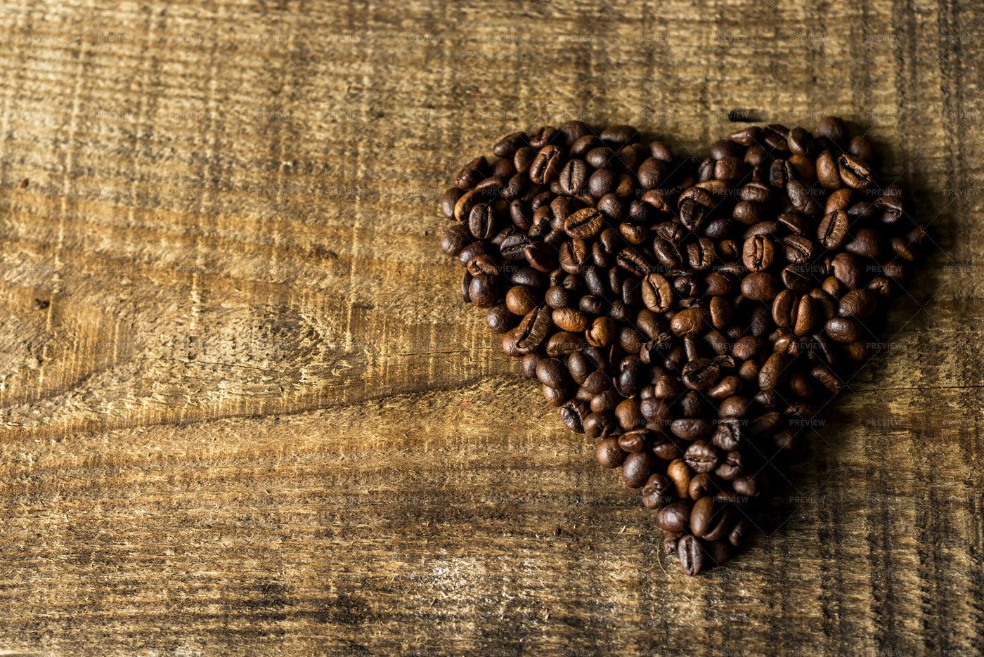 Heart-Shaped Coffee Pile: Stock Photos