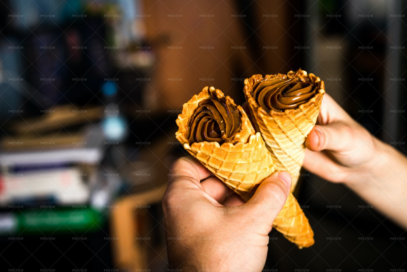 Wafer Rolls Of Chocolate: Stock Photos