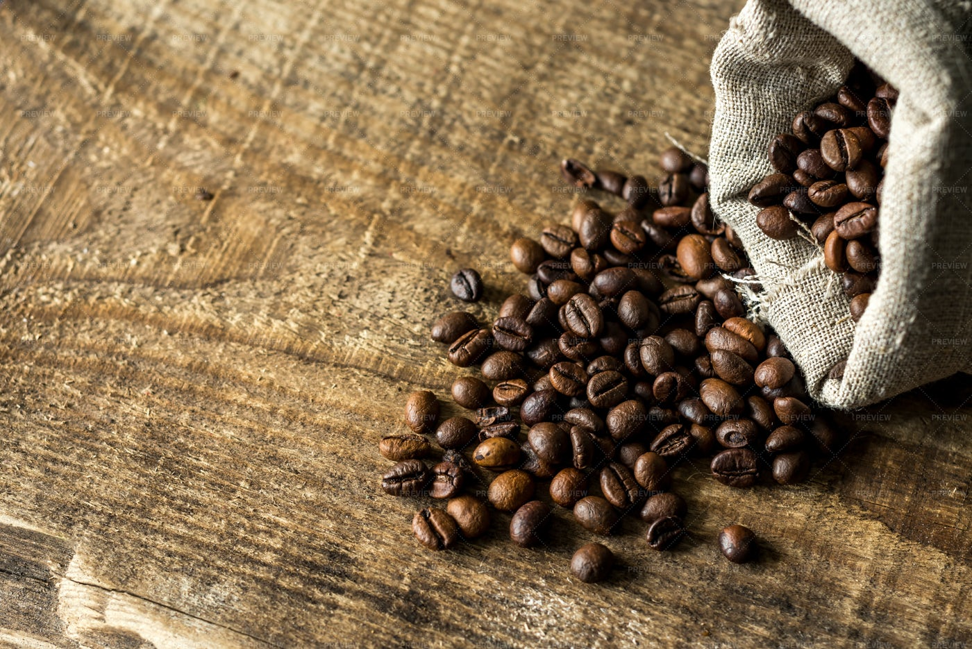 Coffee Beans Spill Out: Stock Photos
