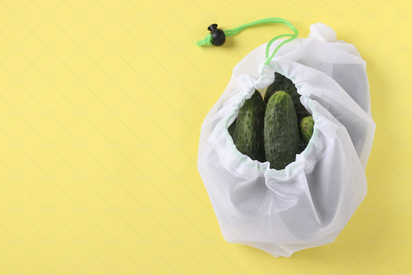 Cucumbers In An Eco Bag: Stock Photos