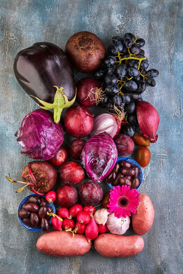 Violet Vegetables And Fruits: Stock Photos
