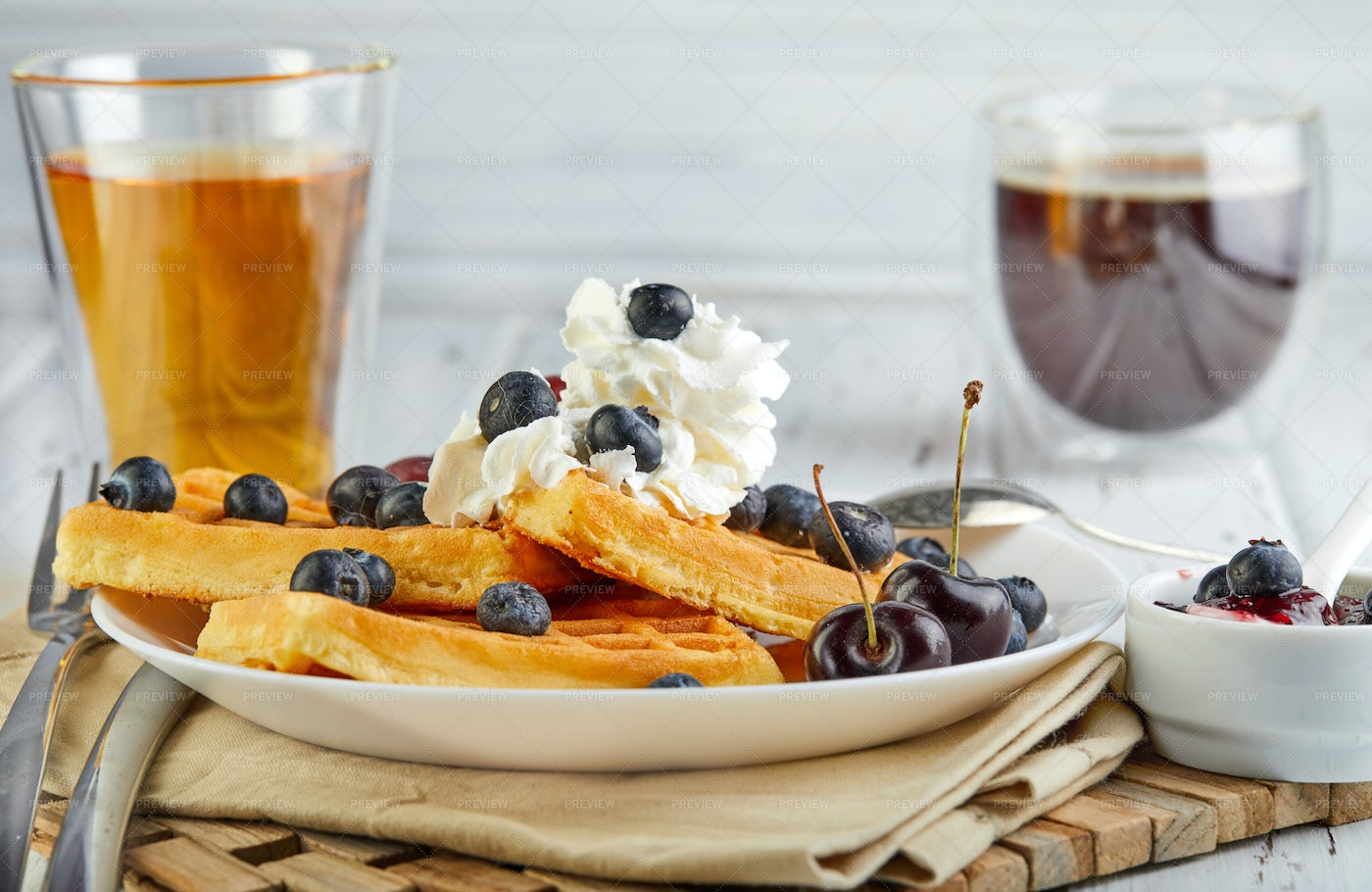 Waffles, Cream And Berries: Stock Photos