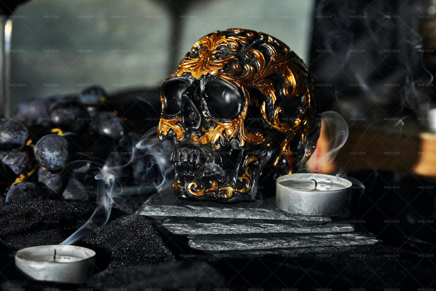Golden Decorative Skull: Stock Photos